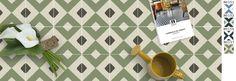 Le motif M0157 aux couleurs U31 kaki brun, U36 vert mousse, U65 lin clair. Format 20 x 20 cm  25 idées de carreaux de ciment