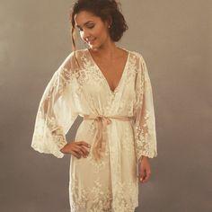 HELENA Kimono réalisée sur commande Guipiere Ivoire lingerie