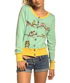 Another great find on #zulily! Aqua Bird Fun Cardigan #zulilyfinds