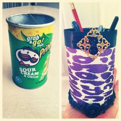 Just made a Pringles can into a pen/pencil holder for my desk! Fun DIY