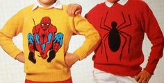 Spiderman knitting pattern sweaters for children and adults dk or 4 ply intarsia charts vintage character knitting Knitting Patterns Boys, Jumper Knitting Pattern, Knitting Yarn, Knitting Sweaters, Intarsia Knitting, Kids Knitting, How To Start Knitting, Double Knitting, 4 Ply Yarn