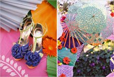 purple wedding shoes and colorful parasols!