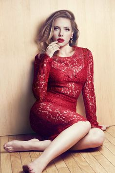 Scarlett Johansson so elegant in red lace, lovely feminine bold red crimson dress, fancy form fitting fashion, long sleeve knee length fashionable style, romantic and sweet