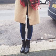 I want black ankle booties like these ! I think this outfit looks really put together .