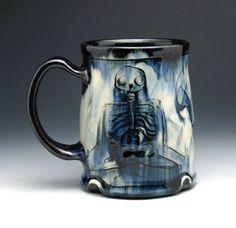 Skeleton Mug Meditating Skeletons & Skull by NicolePangasCeramics