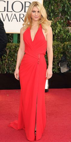 At the Golden Globes, Danes took the plunge in a custom Atelier Versace silk column
