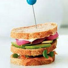 Petite Smoked Salmon and Avocado Club Sandwich