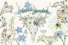 Watercolor wild garden deer antlers by GrafikBoutique on Creative Market