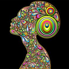 Woman Psychedelic Art Design Portrait by Bluedarkat Lem