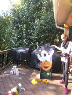 Halloween Bean Bag Toss and Pumpkin Bowling - easy homemade party games.