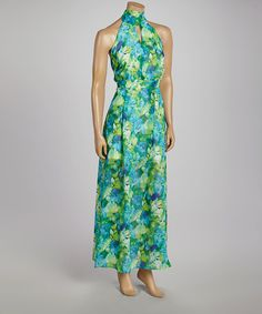 Look what I found on #zulily! Teal Floral Halter Maxi Dress #zulilyfinds. I want this so bad!