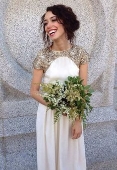 Dress: formal dress, prom, ivory, white dress, gold sequins, bridesmaid, grecian dress, wedding dress - Wheretoget