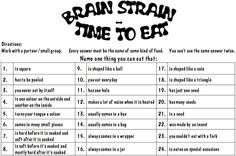Brain Strain Activities - word doc of activiites to encourage lateral thinking.