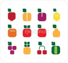 fruits square sign Royalty Free Stock Vector Art Illustration