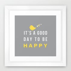 Happy poster - 8x8 print grey background grey and yellow nursery decor birthday gift wall decor art. $17.00, via Etsy.