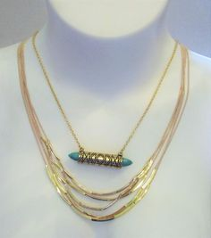 Steve Madden Layered Necklace Gold Tone Wraped Turquoise NWT #SteveMadden #Chain