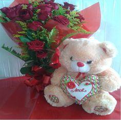 Buquê Rosas Vermelhas e Urso de Pelúcia