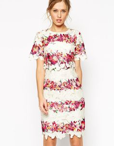 ASOS   ASOS SALON Floral Stripe Lace Crop Top Midi Dress at ASOS