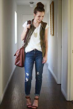 lace top, gold chevron necklace, olive cargo vest, distressed jeans, cognac sandals