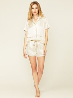 Trimmed Silk Pajama Short by La Fée Verte Intimates on Gilt.com
