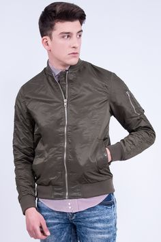 Light-Weight Bomber Jacket In Slim Fit