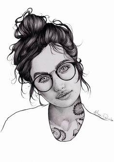 Elena Pancorbo {beautiful female tilted head monochrome eyeglasses young woman face portrait line drawing illustration #loveart} elenapancorbo.tumblr.com