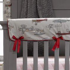 Vintage Airplanes Crib Rail Cover | Liz And Roo Baby Boy Crib Bedding, Baby Boy Cribs, Baby Boy Rooms, Nursery Bedding, Baby Boy Nurseries, Nursery Boy, Modern Nurseries, Disney Nursery, Bedding Sets