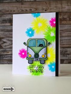 Tracy Mae Design: Don't Worry, Be Hippie    The Alley Way Stamps Sneak Peek, TAWS, clear stamps, stamping, card, Feeling Groovy