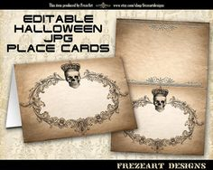 Halloween Place cards Food cards Table cards Escort cards Editable Jpg best for Halloween party decor - HALLOWEEN PLACE CARDS nr1