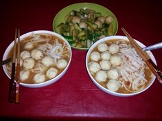 fishball galore. stir fried cucumbers with fishballs. spicy soup noodles with fishballs.