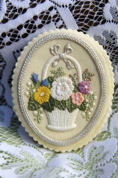 painted cookie gallery | Flower Basket Hand Painted Cookie | Embossed Edibles