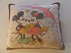 Mickey & Minnie Mouse tinted and embroidered throw pillow (1930's)
