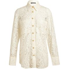 Balmain Oversized Lace Shirt (1 035 AUD) ❤ liked on Polyvore featuring tops, blouses, shirts, balmain, shirts & blouses, white lace blouse, balmain shirt, oversized white blouse and oversized blouse