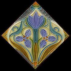 Gilliot & Cie Hemiksem - multicoloured Art Nouveau tile with diagonal flower
