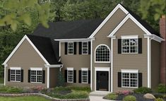 Vinyl Siding Color: Tuscan Clay,  White Trim &  Dark Gray Roof