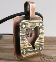 Love Pendant, Heart Necklace, Cold Connections, Brass, Copper, Sterling Silver. $56.00, via Etsy.