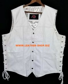 White leather vest with side laces MLV730 custom made, all sizes, colors   leathers available @ leather-Shop.Biz