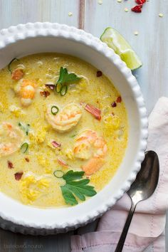 Thai Coconut Shrimp Soup, fresh, lightened up, with a perfect balance of flavors. This delicious recipe is the best I've made!