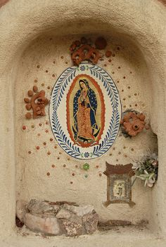 our Lady of Guadalupe ~ Santa Fe New Mexico Religious Icons, Religious Art, Madonna, Home Altar, Santa Fe Style, Mexico Style, Queen Of Heaven, Holy Mary, Blessed Virgin Mary