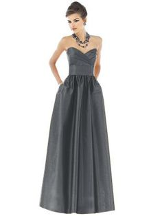 Designer: Alfred Sung    Color: Ebony    Fabric: Peau De Soie    Style: BMs can choose their own