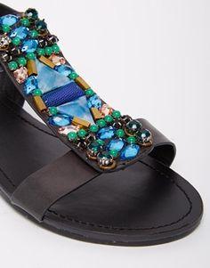 Ingrandisci Head Over Heels By Dune - Nieve - Sandali piatti neri decorati