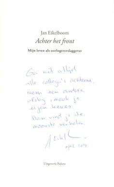 Oorlogsverslaggever Jan Eikelboom bij FHJ, 22-4-2014