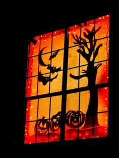 Scary Halloween decorations ideas are the important part of Halloween event. Explore 52 best DIY Halloween decorations ideas for 2019 to onwards. Diy Halloween Window Decorations, Halloween Window Display, Diy Halloween Home Decor, Outdoor Decorations, Diy Halloween Window Silhouettes, Homemade Decorations, Scary Decorations, Halloween Displays, Halloween Design