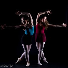 The beauty of ballet shown by two beautiful ballerinas