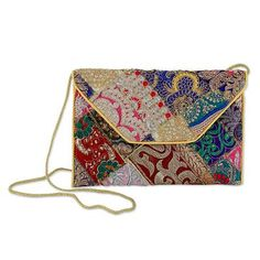 Beaded Patchwork Embroidered Purse of Recycled Fabric - Vibrant Dream | NOVICA