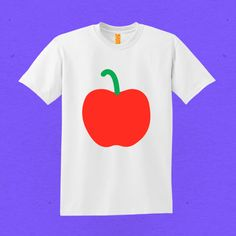 A is for apple Red and Green screen print on a white tee.   THINGS