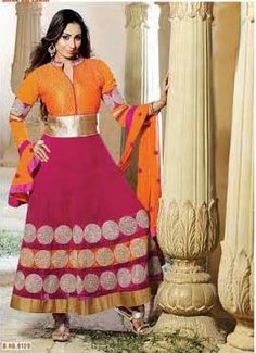 Orange and Pink Designer Georgette Anarkali with heavy work of Embroidery en-crafted on the top and the Bottom. Along with Matching Shantoon Bottom and Chiffon Duppatta.