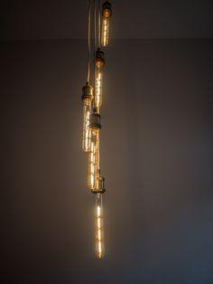 T10 filament 3W E27 Vintage LED lightbulbs with Brass pendant fittings in multi-drop array.  www.vintageled.com.au