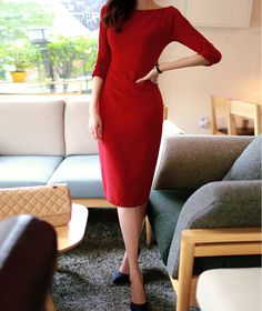 Sexy Style 3/4 Sleeves Open Back Slimming Solid Color Women's Dress, RED, S in Dresses 2014 | DressLily.com