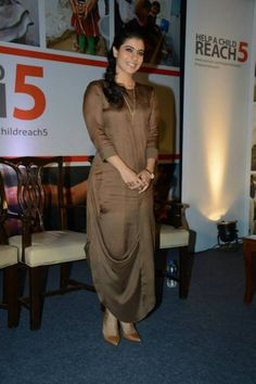 Kajol at 'Help A Child Reach campaign Pakistani Dresses, Indian Dresses, Indian Outfits, Western Dresses, Western Outfits, Indian Attire, Indian Wear, Kurta Designs, Blouse Designs